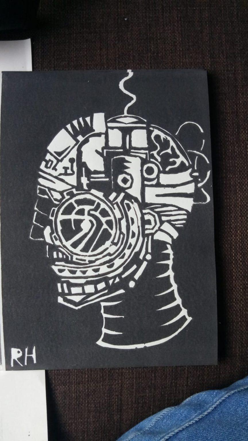 Ode aan de Lino Linoleumsnede Robohead